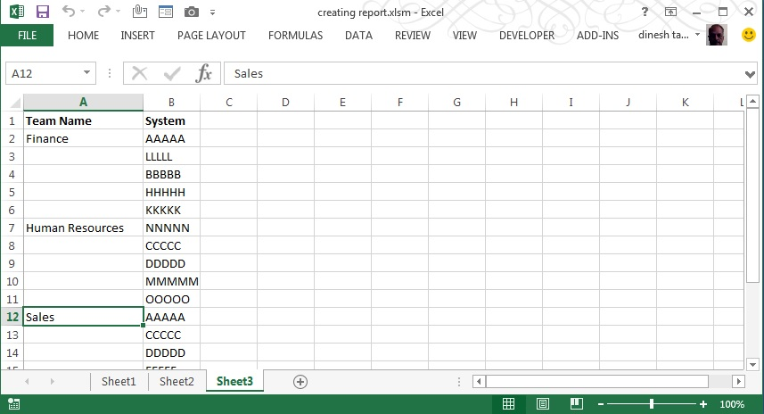 New Table with Headers in specific positions