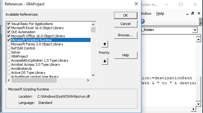 Activate Microsoft Scriptung Runtime Library