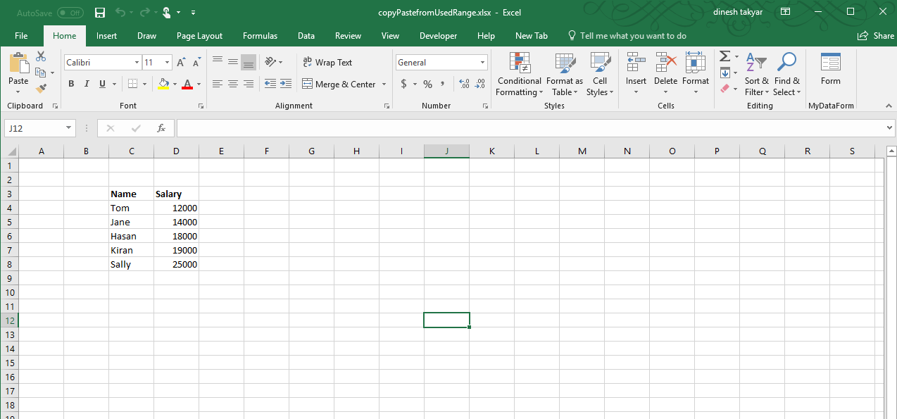 Copy Data from Unknown Range in another Workbook with